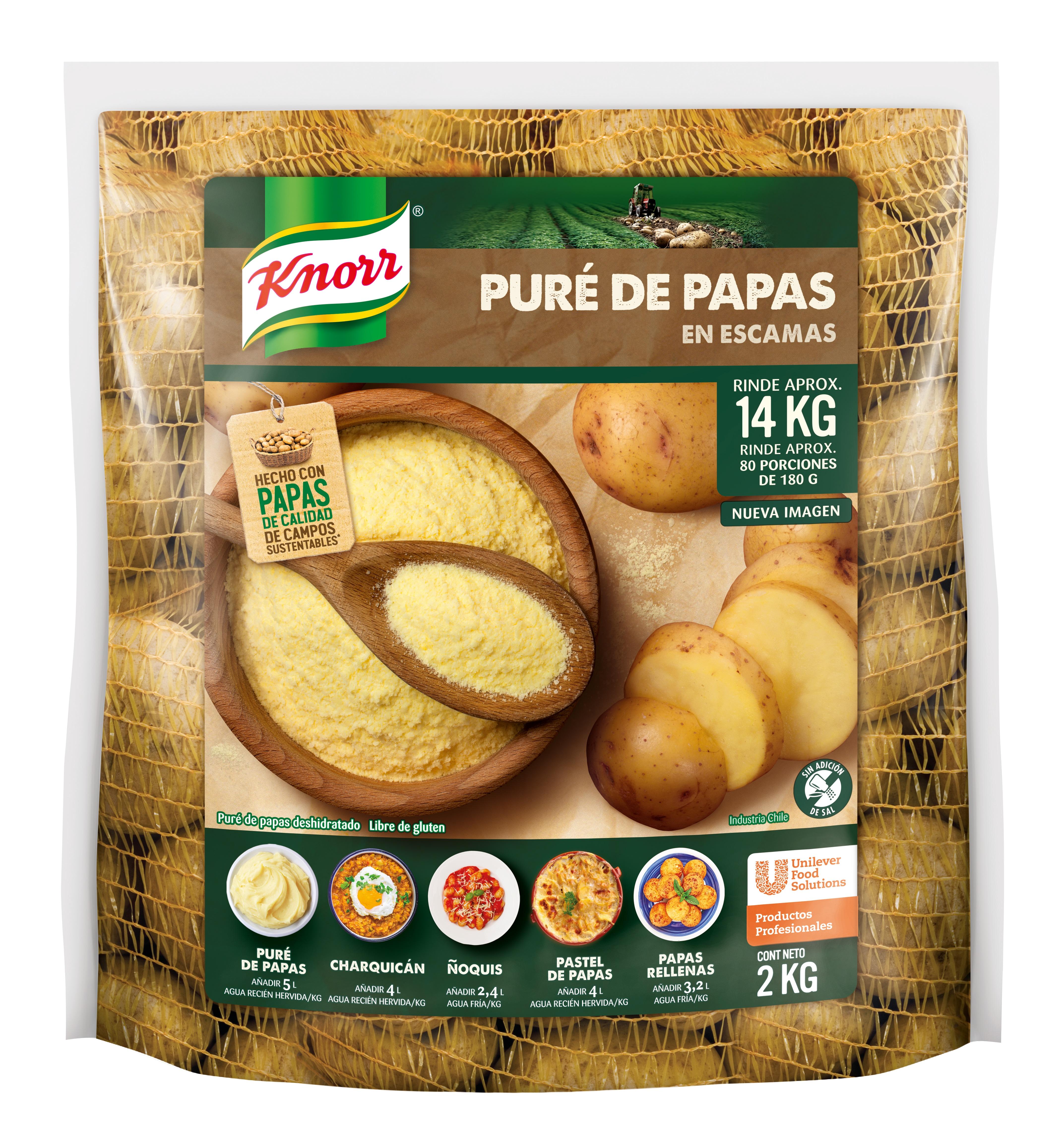 Pure de papas Knorr 2KG - Puré de Papas Instantáneo Knorr: escamas de papas seleccionadas para que coincidan con tu toque de chef